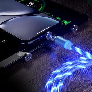 Mágneses LED töltőkábel + 3 fejegység - USB-C | Micro USB | IOS (Kék és Piros színben)